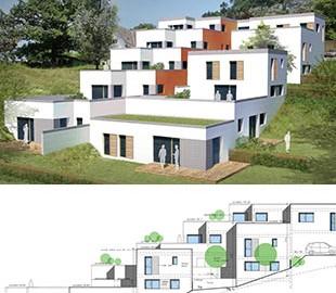 Les-Hauts-de-Chambéry – Architecture contemporaine – Construction dans la pente – Grande terrasse – Immeuble en cascade